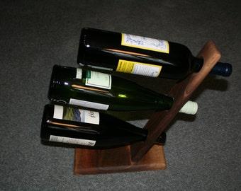 Hand-made hardwood wine bottle holder
