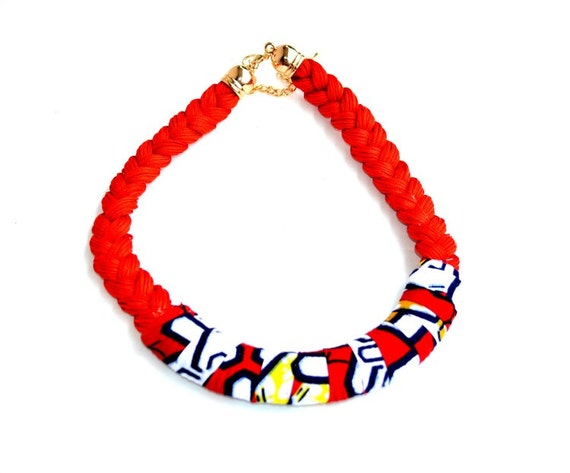 items similar to red cord fabric cover necklace african tribal necklace christmas necklace. Black Bedroom Furniture Sets. Home Design Ideas