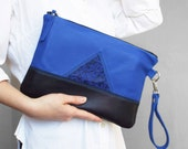 Leather clutch. Geometric blue black clutch. Leather Ipad / tablet case.