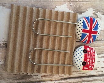 Pair of Jumbo Paperclip Bookmarks, Fabric Covered Buttons, British Flag and London Bus