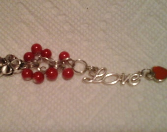 Silver flower charm purse, phone, key chain or zipper pull