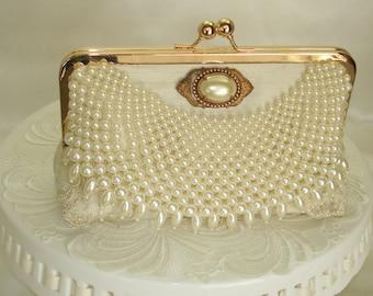 Elegant Wedding / Ivory Wedding Bag / Pearl Wedding Clutch / Bridal Clutch / Romantic Wedding / Ivory handbag