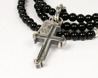 Sterling Silver Cross - 100% Sterling Silver Necklace - Goth Necklace - Rocker Jewelry