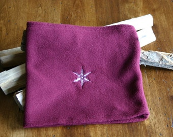 Bordeaux/Burgundy Polartec Fleece Neck Warmer / Gaiter with Snowflake and Crystal