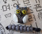 Handmade Focal Glass Lampwork Owl Bead- RESERVED FOR BONNIE