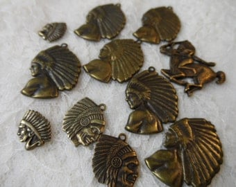 """Vintage gold stamped and solid Indian charms,1/2""""-1"""",14pcs-KC95"""
