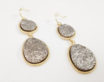 Silver Oval Geode Agate Sparkling Druzy Drusy Raw Stone Drop Earrings