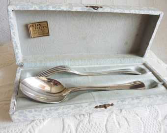 Christofle Spoon And Fork Set, Silver Plated, Presentation Boxed, Unused, By Christofle of Paris France circa 1930s