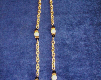 "Deco Look 28"" Gold Tone, Black and Pearl Necklace"