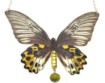 Butterfly necklace, butterfly print, Butterfly, butterfly jewelry, vintage butterfly, statement necklace, statement jewlry