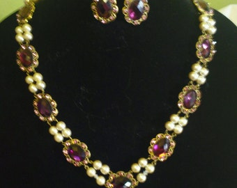 Victoria/Renaissance Necklace and earring set - Antique pearl/amethyst
