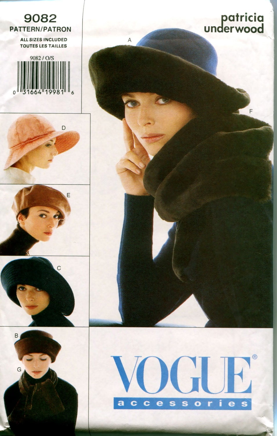 1990s Patricia Underwood hat pattern - Vogue 9082