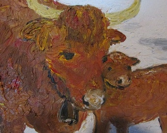 Original Oil Painting -  Scottish Highlanders New Born in Early Spring