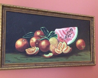 Oil Painting Fruit, Oranges and Watermelon