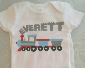Personalized train onesie 3 pack