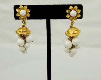 Vintage 1960's Dangle White Bead Clip On Earrings