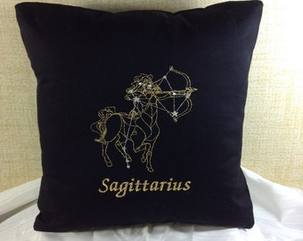 Sagittarius Zodiac Sign - The Centaur, 16 x 16 Pillow Cover, November 22 - December 21, Embroidered, Metallic Thread