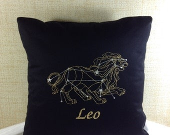 Leo Zodiac Sign - The Lion, 16 x 16 Pillow Cover, July 23 - August 22, Embroidered, Metallic Thread