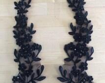 Black Beaded Applique, Alencon Lace for Headbands, Sashes, Costume Design