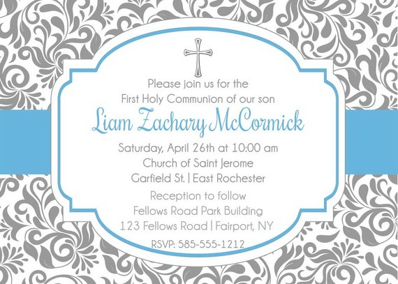 Boy First Holy Communion Invitation Printable First