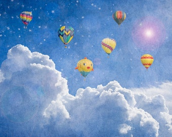 Hot Air Balloons, stars, cloads, wall decor, wall hanging, wall art, blue - nursery photograph