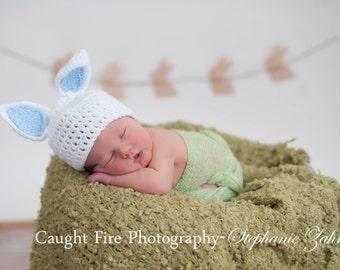 Newborn Boy Bunny Hat. Photo Prop. Ready to ship.