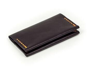 minimalistische handgestikte leren portemonnee met door