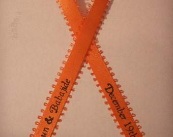 """50 Personalized Ribbon 3/8"""" Feather Edge Satin Wedding, Baby Shower Favor"""