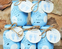 Five Shabby Chic Vintage-inspired hand-painted blue polka dot distressed Mason/Ball jars/vases - baby boy shower centerpiece