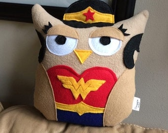 Wonder Woman Owl Plushie- Inspired by Wonder Woman-Little Wonder Woman Owl- Plush Wonder woman Owl