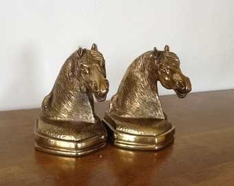 Vintage Brass Horse Head Bookends, Beautifully Detailed, Brass Stallions, Molded, Gold Bookends, Very Heavy, Pair of Horse Bookends