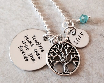 Teachers plant seeds that grow forever personalized teacher necklace
