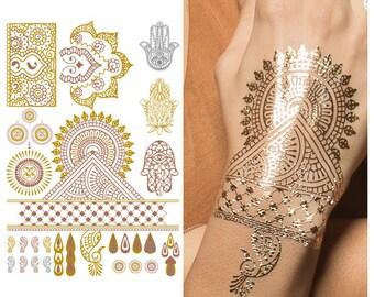 Metallic Gold Bronze Silver Henna w/ Hamsa Flower Designs Temporary Tattoo (1 Sheet) - Indian Princess