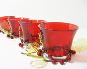 Red Votive Candle holders with holly and berries, set of 4