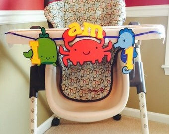 Under the Sea theme highchair banner, under the sea first birthday theme