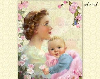 Vintage Mother  & Child with Pink Roses Digital Image Collage Sheet Instant Download