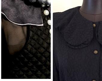 Vintage Black Silk-Blended Georgette Blouse / Bohemian Modern Style