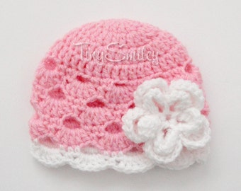 Pink Crochet Baby Hat,  Pink Shell Flower Baby Beanie, Crochet Beanie, Baby Girl Hat, Baby Girl, Hats for Girls, Newborn Baby Girl Hat, Hats