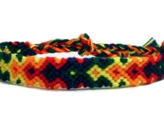 Rainbow Colored Arrowhead Pattern Embroidery Macrame Friendship Bracelet