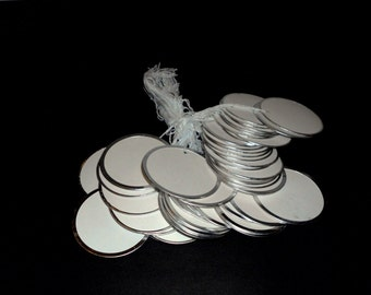 Reduced...Metal Rimmed Tags,Round Circle White Labels, set of 25, Pre-Strung 2 1/4 Inches, Scrapbooking Supply