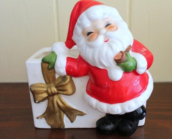 Vintage Josef Originals Ceramic Santa Claus Candy Dish, Japanese Figurine from the 60s