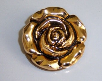 Signed Small Rose Scarf Clip. Western Germany Scarf Ring. Vintage Scarf Clasp.