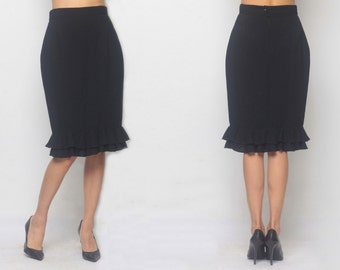 Black Flared Design Pencil Skirt