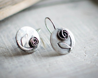 massive Silver Earring ON COMMAND, 925, rose, flower, circle, romantic, spring, nature