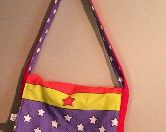 Wonder Woman inspired superhero messenger bag, padded and reversible