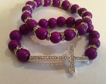 Beaded Side CROSS bracelet set beaded stretch MOTHERS DAY gift cheap gift idea purple jewelry summer