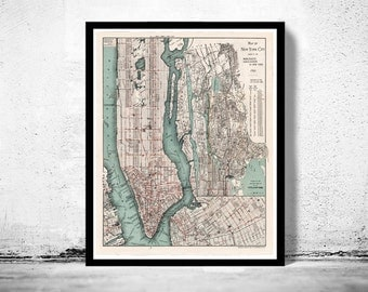 Old Map of New York 1897 Manhattan