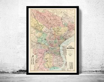 Old Map of Philadelphia 1893