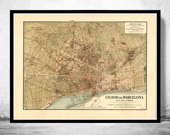 Old Map of Barcelona, Spain Cataluña 1900 Vintage map Barcelona