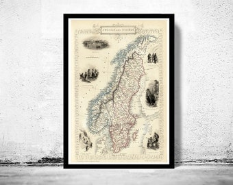 Old Map of Norway and Sweden, 1851, scandinavia Antique Baltic Sea